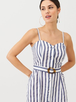 Very Stripe Belted Linen Beach Dress - Stripe