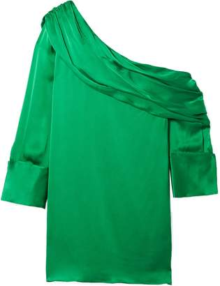 Alice + Olivia One-shoulder Silk-blend Satin Mini Dress