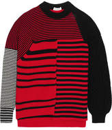 Sonia Rykiel Paneled Striped Wool Sweater - Red