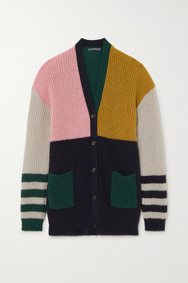 ALEXACHUNG Nora Color-block Ribbed-knit Cardigan - Dark green