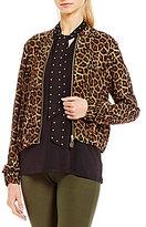 MICHAEL Michael Kors Leopard Print Dog-Tag Zip Front Bomber Jacket
