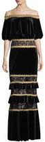 Tadashi Shoji Off-the-Shoulder Velvet Blouson Gown w/ Tiered Skirt