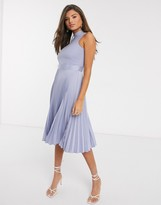 Closet London pleated skirt midi dress in lilac