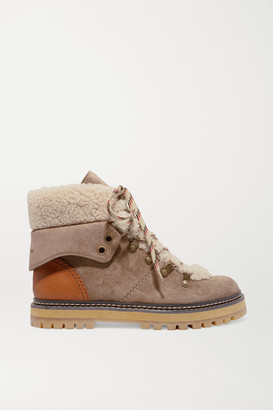 See by Chloe Shearling And Leather-trimmed Suede Ankle Boots - Taupe