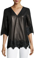 Neiman Marcus Half-Sleeve Leather Top w/ Calf Hair Lace, Black