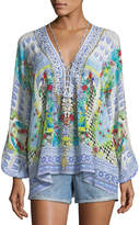 Camilla Deep-V Long-Sleeve Printed Silk Blouse