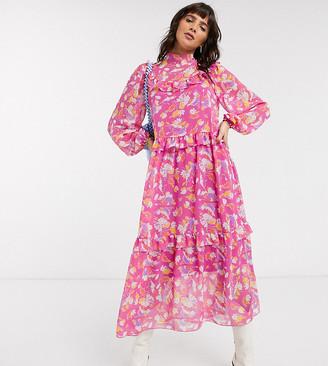 Reclaimed Vintage inspired midi sheer dress in vintage floral print