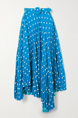 Balenciaga Belted Asymmetric Pleated Polka-dot Crepe Midi Skirt - Blue
