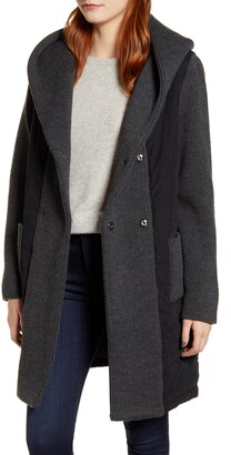 Kristen Blake Quilted & Knit Contrast Coat