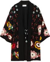RED Valentino Floral-print Silk Crepe De Chine Kimono Jacket - Black