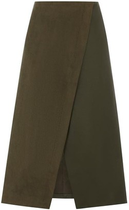 Oasis Faux Suede Patched Midi Skirt