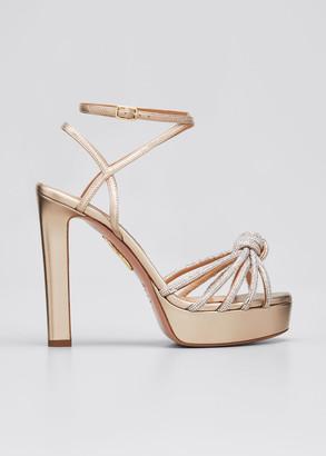 Aquazzura Celeste Metallic Swarovski Stiletto-Heel Sandals