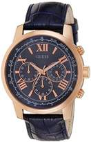 GUESS GVSS5) Men's Quartz Watch with Blue Dial Chronograph Display and Blue Imitation Leather Bracelet W0380G5