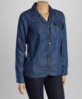 Live A Little Blue Button-Up Denim Jacket - Plus