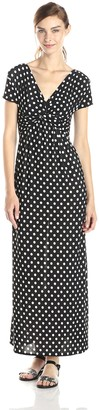 Star Vixen Women's Short Sleeve Twist Front Printed Maxi Dress