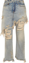 R 13 Double Classic Distressed High-rise Straight-leg Jeans - Mid denim