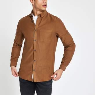 River Island Mens Brown lyocell chest pocket slim fit shirt