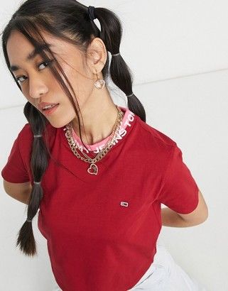 Tommy Jeans logo neck ribbed t-shirt in wine