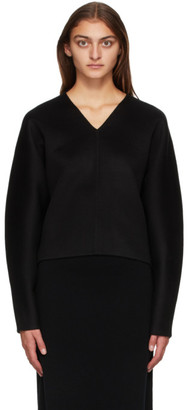 Totême Black Wool Rennes V-Neck Sweater
