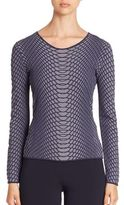 Armani Collezioni Long-Sleeve Reptile Knit Sweater