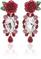 Dolce & Gabbana Rosetto Gold-Tone Brass and Crystal Earrings