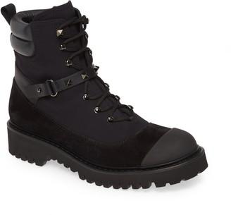 Valentino Rockstud Cap Toe Combat Boot