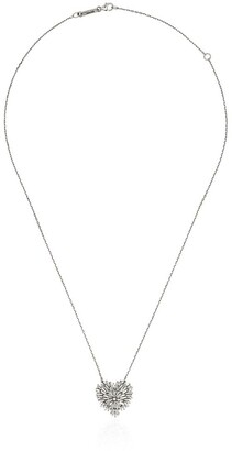 Suzanne Kalan 18K white gold and diamond medium heart firework necklace