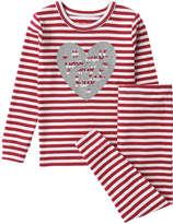 Joe Fresh Toddler Girls' Glitter Stripe Sleep Set, Red (Size 5)