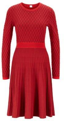 BOSS Two-tone knitted dress in a cotton-blend raised jacquard