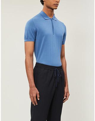 Oscar Jacobson Otto zip-neck cotton-knit polo shirt