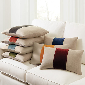 "Ballard Designs Velvet Colorblock Linen Pillow Natural/Red 20"" x 20"