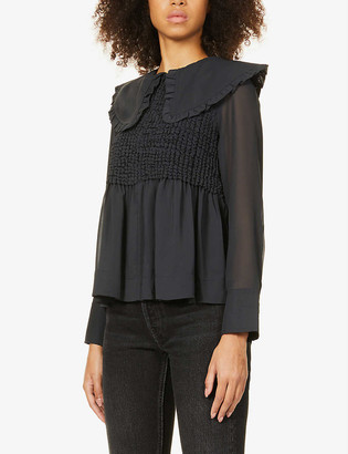 Ganni Smock recycled polyester blouse