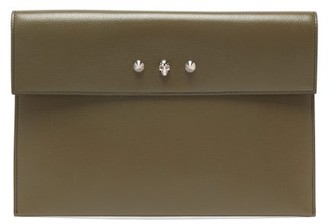 Alexander McQueen Skull Envelope Leather Clutch Bag - Khaki