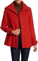 Ellen Tracy Wool Blend Back Pleat Car Coat