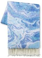 Xhilaration Blue & White Marbled Throw