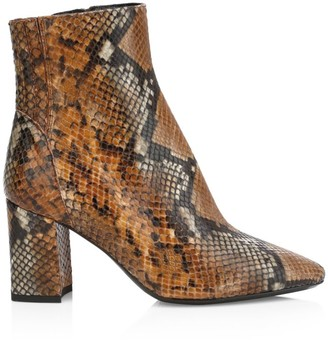 Aquatalia Posey Snakeskin-Embossed Leather Ankle Boots