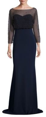 Badgley Mischka Sequin Blouson Gown