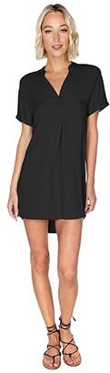 bobi Los Angeles Shirtdress in Rayon Crepe (Black) Women's Dress