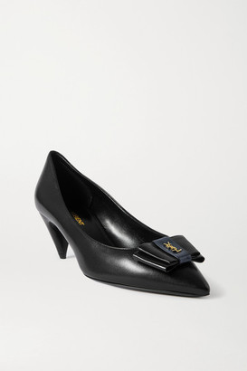 Saint Laurent Anais Bow-embellished Glossed-leather Pumps - Black