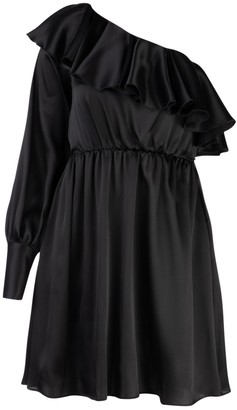 MSGM Ruffle Trim One-Shoulder Mini Dress