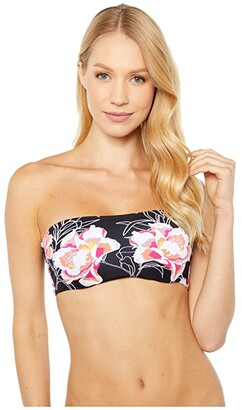 Roxy Print Beach Classics Underwire Swim Bandeau (Anthracite Zilla) Women's Swimwear