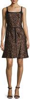 J. Mendel Sleeveless Fit-&-Flare Combo Dress, Bronze Multi