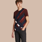 Burberry Abstract Check Print Cotton T-shirt , Size: XXL, Red