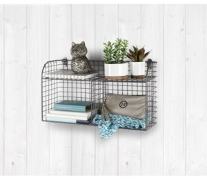 Spectrum Vintage-like Living Wall Mount Double Bin with Shelf