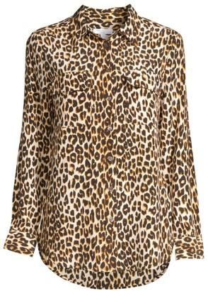 Equipment Slim Signature Silk Leopard Print Shirt
