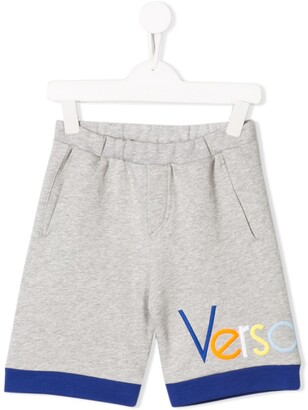 Versace Logo Embroidered Track Shorts