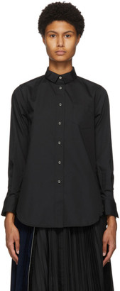 Sacai Black Poplin Drop-Tail Shirt