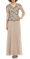 Pisarro Nights V-Neck Beaded Mock Two-Piece Gown