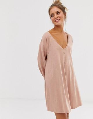 Asos Design DESIGN slub mini button through swing dress-Pink