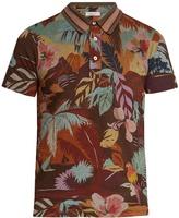 Valentino Tropical-print cotton-jersey polo shirt